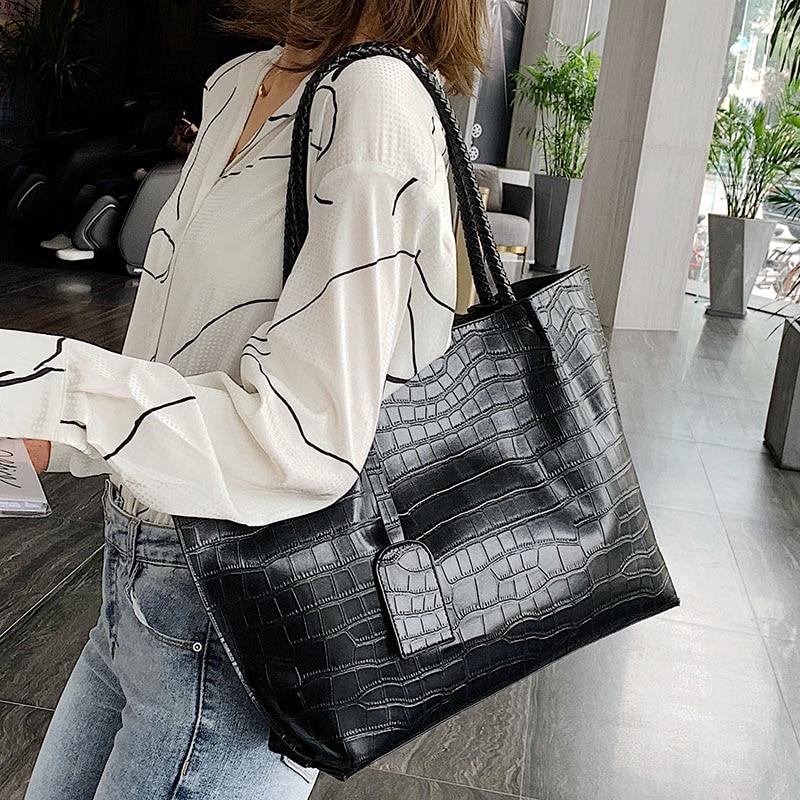 Stone Pattern PU Leather Shoulder Bags For Women 2020 Luxury Quality Handbags High Capacity Handbag Lady Black Hand Bag