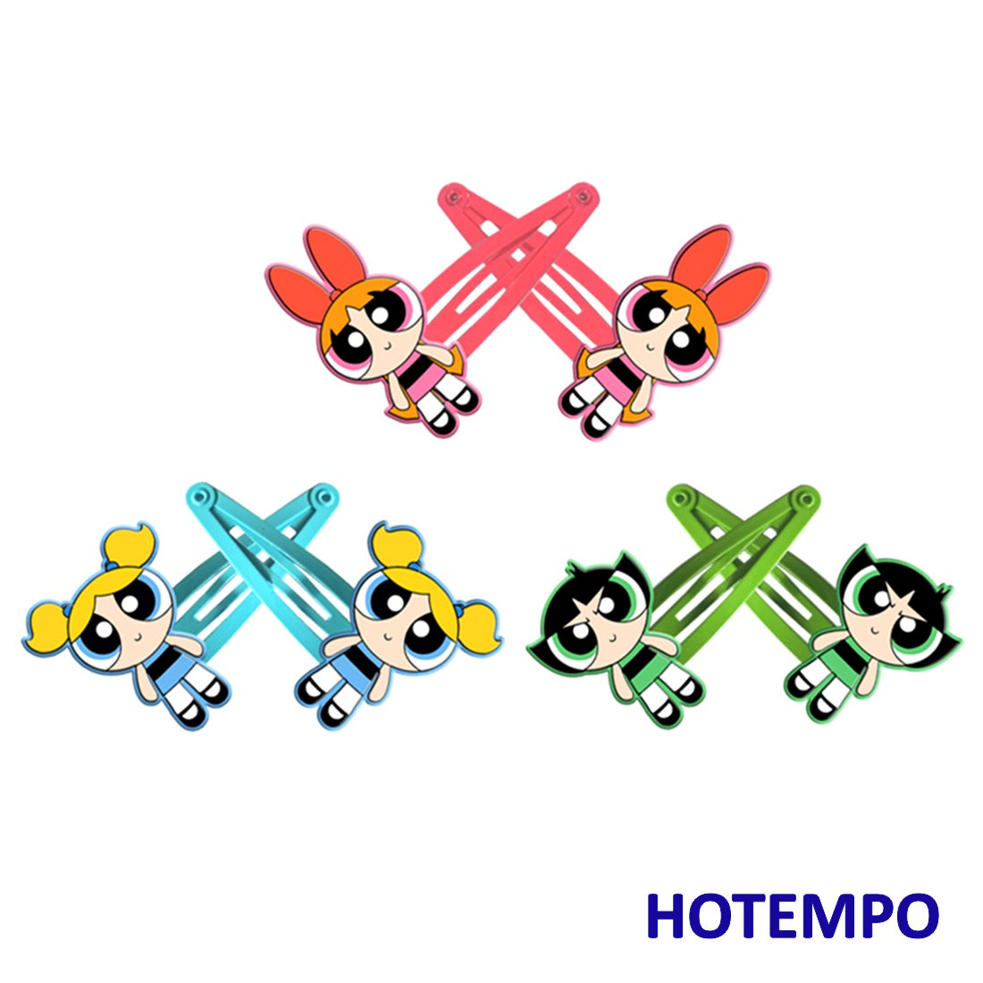 Blossom Bubbles Buttercup Cute Cartoon Girls Kids Hair Clips HairPins For Baby Girl Children Kids Gift Cosplay PVC Accessories