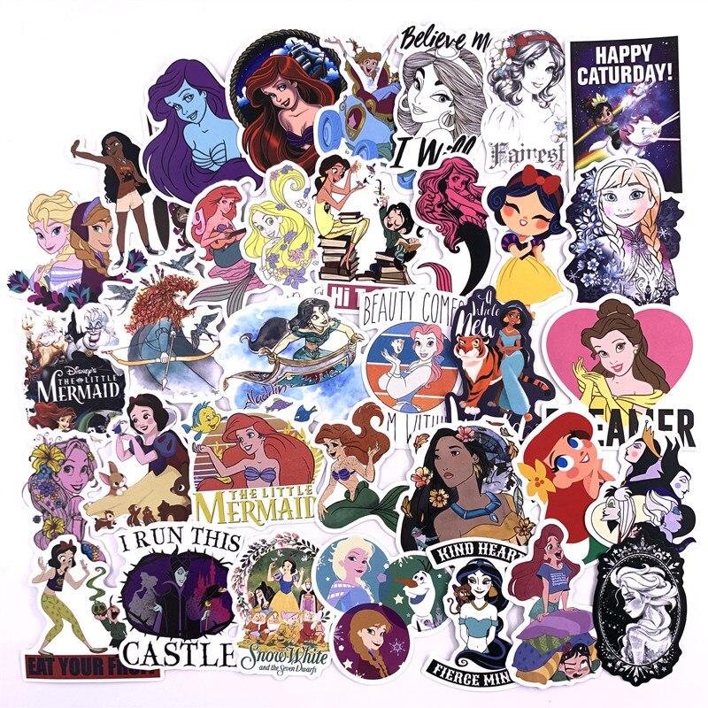 100 pièces princesse Disney autocollants ne pas répéter voiture moto tirer barre boîte dessin animé graffiti autocollants étanche
