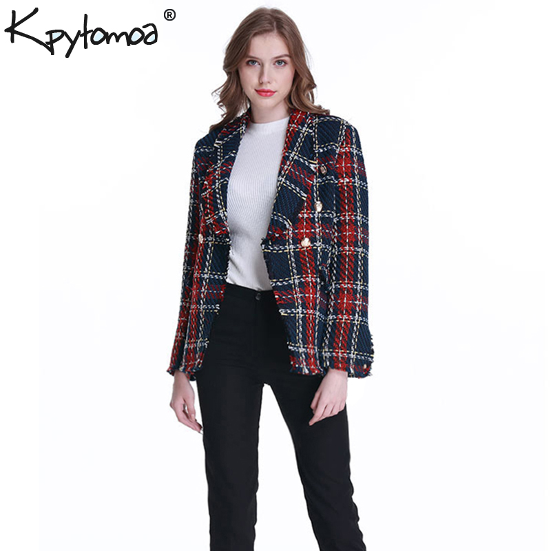 Coat Women Outerwear Pockets Tweed Blazers Plaid Frayed Vintage Checked Femme Double-Breasted