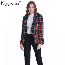 Coat Women Pockets Tweed Blazers Plaid Frayed Vintage Checked Femme Double-Breasted Casual