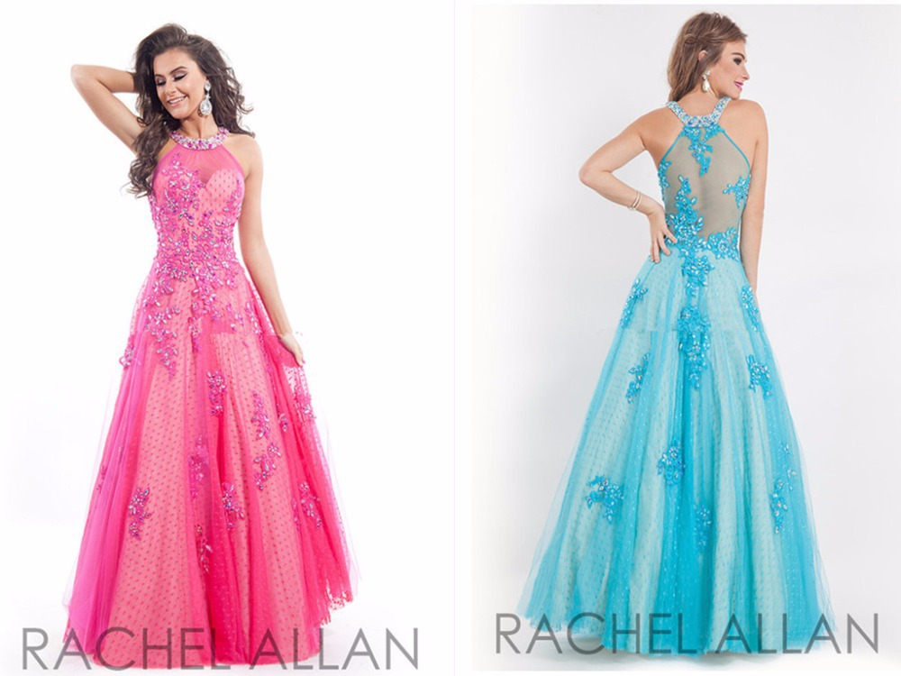 2015 Sexy Charming Rachel Allan Appliques Prom Dresses Halter Vestidos De Festa Custom Made Long Evening Dress Free Shipping