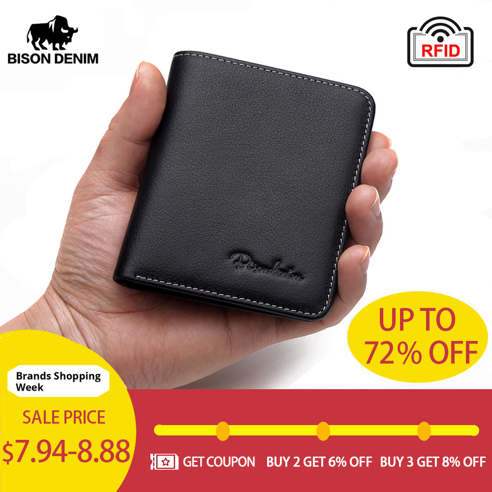Purse Card-Holder Male Wallet Thin Black Soft Mini Genuine-Leather Bison Denim Men