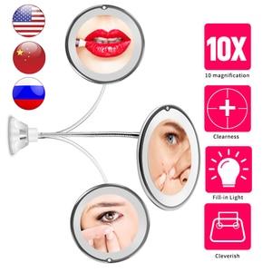 LED Mirror Makeup Mirror with LED Light vanity mirror10X Miroir зеркало для макияжа espejo de maquillaje spiegelVIP DROPSHIPPING(China)