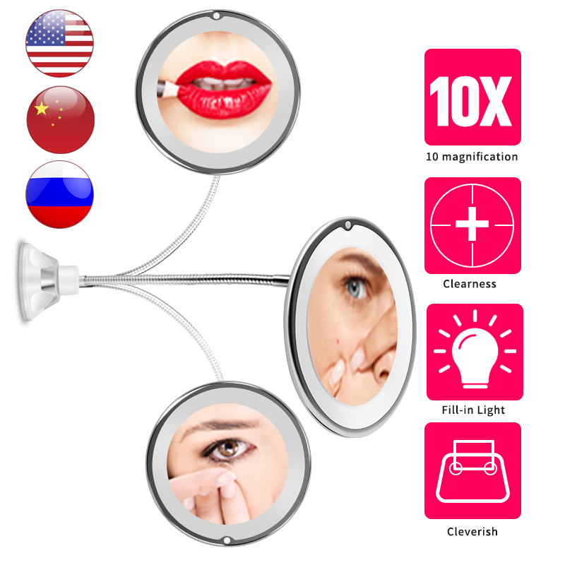 Miroir de Maquillage Lumineux 1X//2X//3X//5X Grossissant Make Up Mirror LED Touch