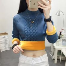 2019 winter new plus velvet thick loose sweater female solid color bottoming