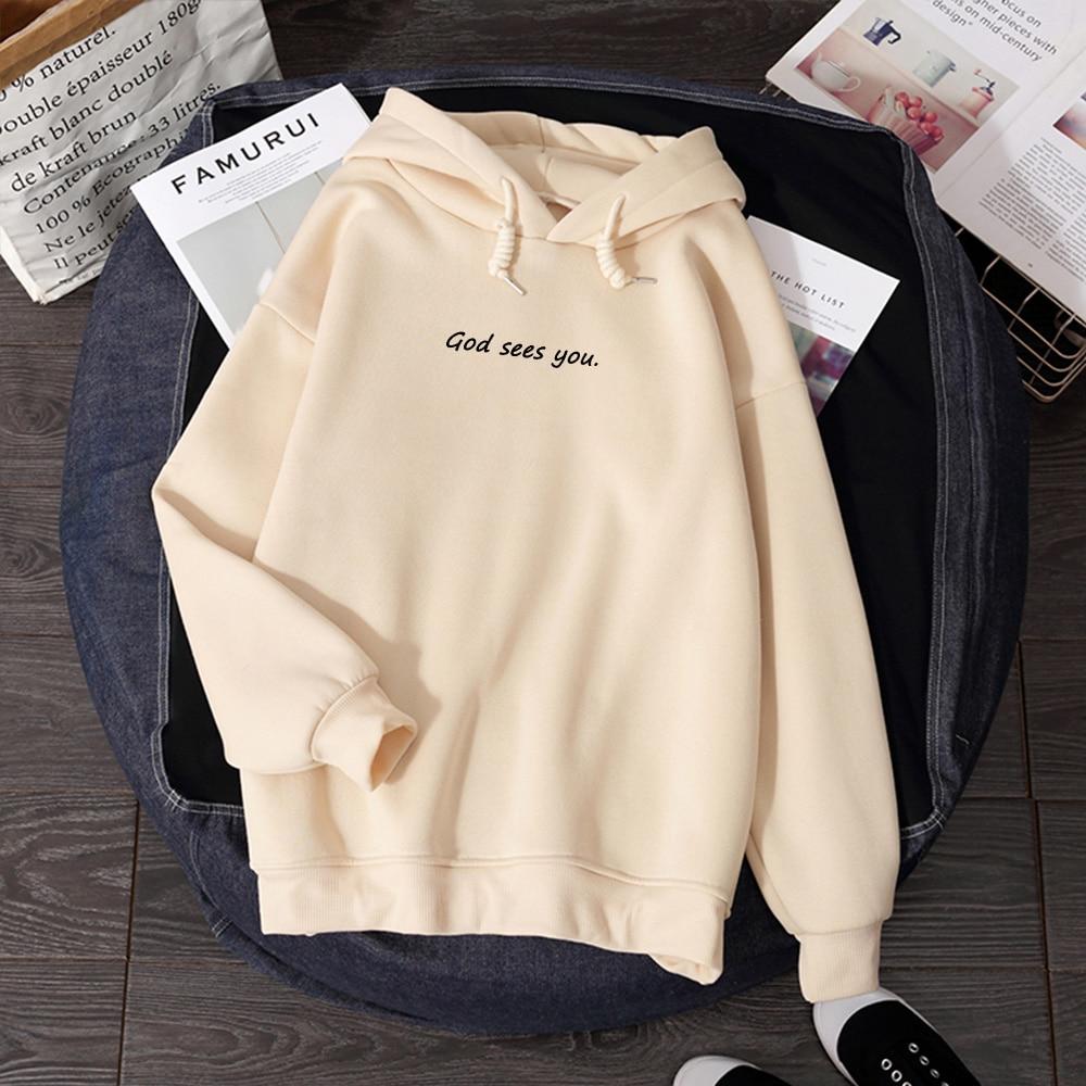 Winter Harajuku Sudadera Mujer Street Wear Korean Woman Hoodies Sweatshirt Comfortable Plus Size Women God Sees You Letter Print