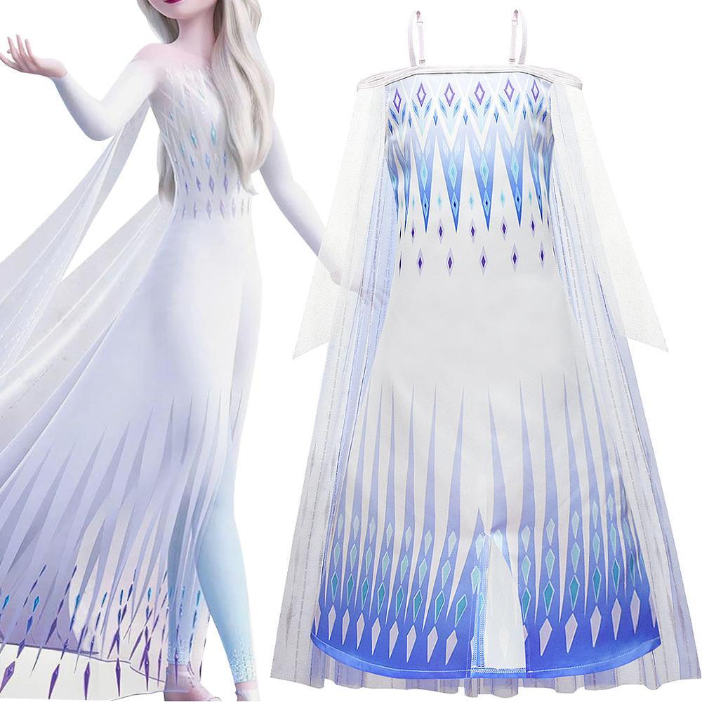 Vestidos de moda de 2 niñas Ice, vestido de Cosplay de Anna, Elsa, Princesa, vestido de bebé, niños, Reina de la nieve, vestido de fiesta de cumpleaños Vestidos de unicornios para niños, vestidos de lentejuelas para vestido de chica a rayas, vestido informal para niñas, ropa de Licorne para niños, vestido de verano para niñas