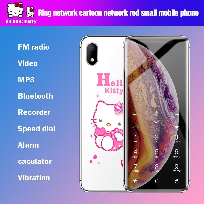 Unlocked Cartoon Mobile Phone A88 Hello Kitty Luxury Cute Girl Phone FM Bluetooth Kids Children Cell Phone