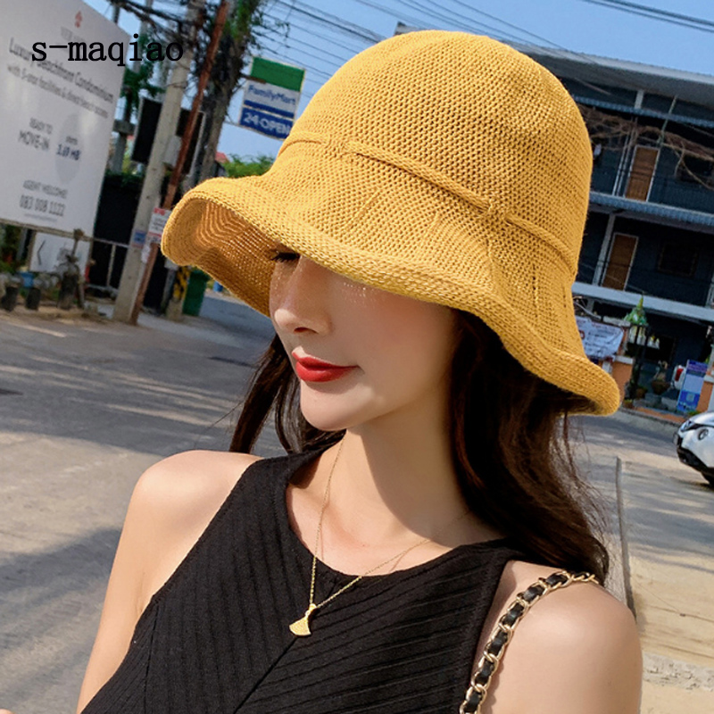 2019 Summer Womens Foldable Large Brim Beach Sun Hat Straw Beach Cap for Ladies Elegant Vacation Travel Hats