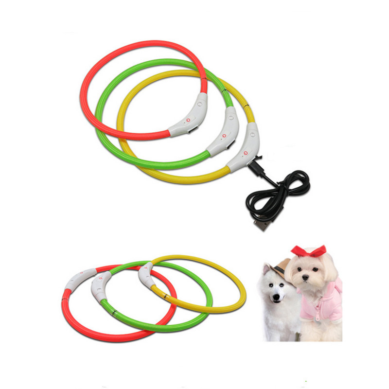 Cross Border Supply Of Goods Pet TPU Weaving Charging LED Shining Dog Neck Ring DIY-Tailor Pet Collar Wholesale