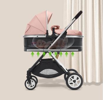High view baby stroller can sit and lie down, light folding baby shock absorber two-way simple hand cart baby stroller ultralight portable folding can sit and lie high landscape shock absorber children baby pocket car boarding