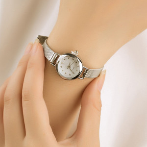 Gold Watch Women Watches Mesh Stainless Steel Fashion Discount Female Clock Rhinestone Crystal Relogio relojes(China)