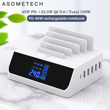 100W Quick Charge 3.0 USB Charger With Bracket Tablet Notebook PC Phone Charger Adapter HUB PD Fast Charger For iPhone Samsung