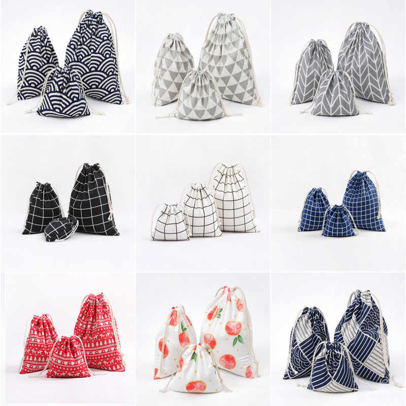 1 pièces petit sac en tissu pochette Simple grille à la main coton lin paquet de rangement cordon thé sacs petit porte-monnaie voyage femmes