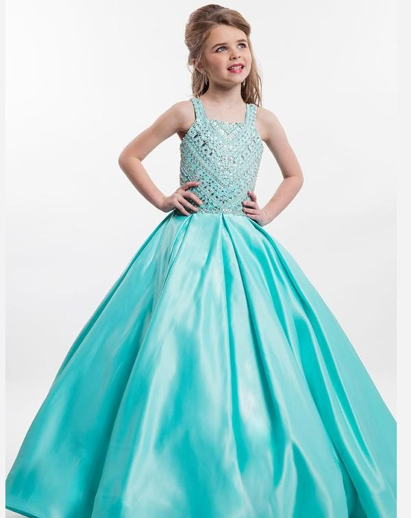 Turquoise Girls Pageant Dresses Ball Gown Scoop Tank Beaded Crystals Long Flower Girl Dresses For Weddings Little Girls