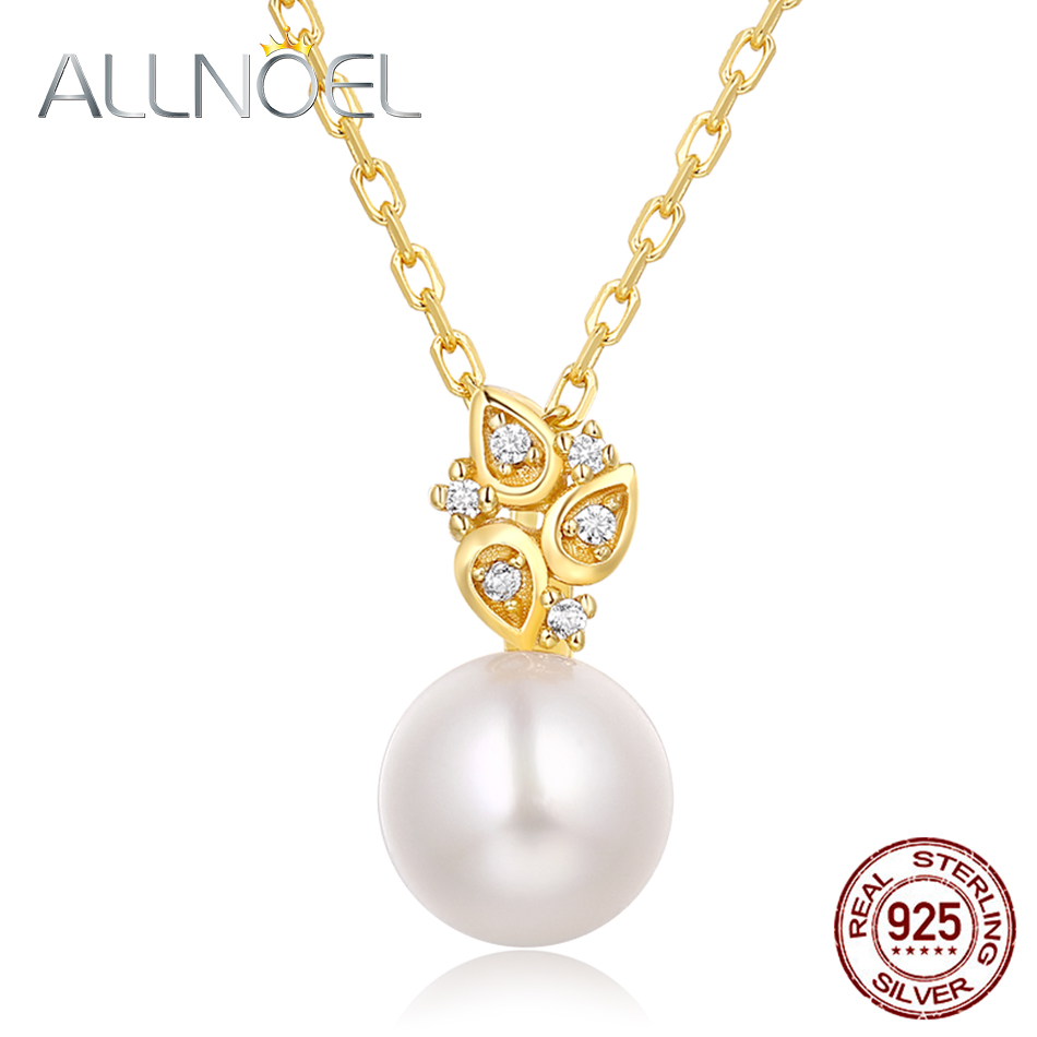 ALLNOEL Real 925 Sterling Silver 100% Real Pearl The Combination zircon Design Necklace Wedding Jewelry Gift For Women  2019 NEW (1)