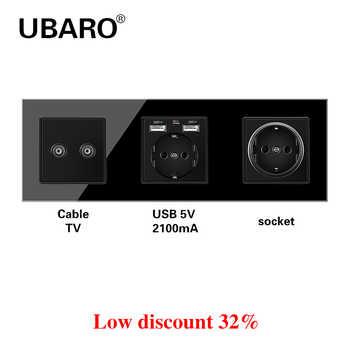 UBARO German Standard Crystal Glass Panel Wall Socket Power Steckdose TV Two Weak Hole Plug Sockets Home Outlet AC100-250V 16A