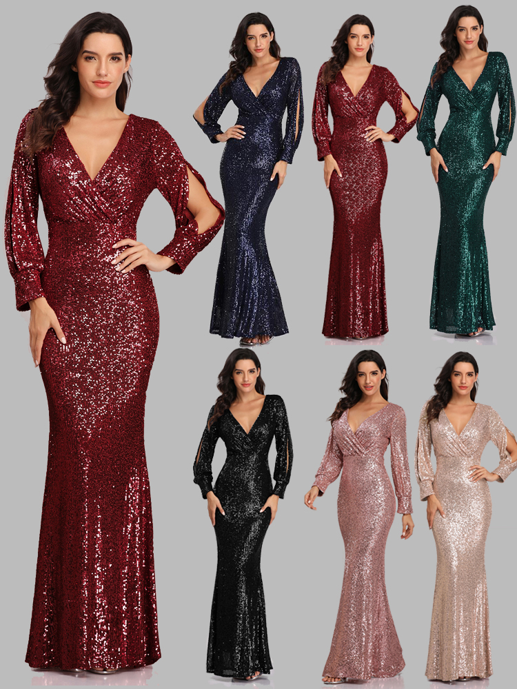 Party-Gown Occassion-Dresses Evening-Dress Mermaid Long-Sleeve Formal Sexy Full-Sequins