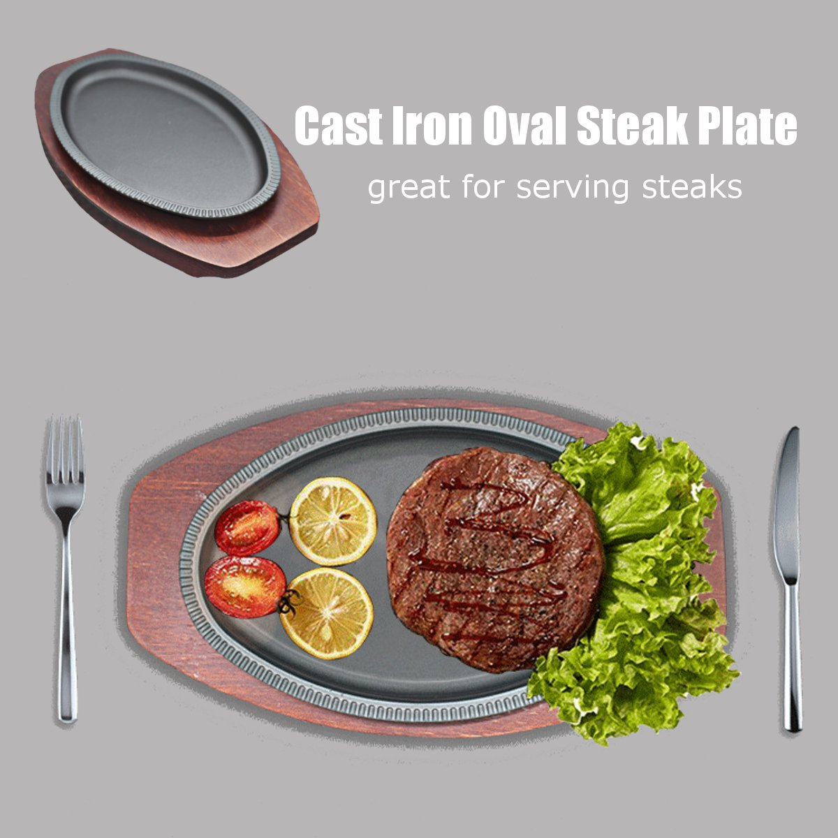 Cast Iron Oval Steak Plate Sizzling Meat Barbecue Platter BBQ Grill Pan Wooden Tray Base 22x13cm Kitchen Cooking Tools Cookware