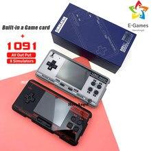 Fc3000 handheld game console 8 simulador preto e cinza crianças tela colorida jogo console construído em 1091 jogos