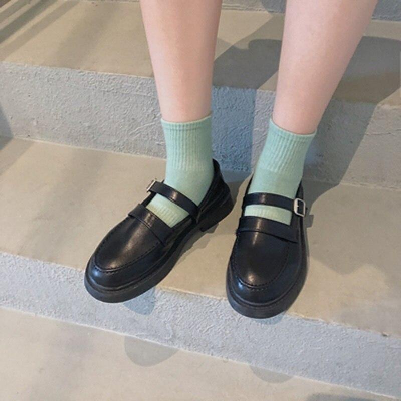 2020 nova versão coreana de sapatos de couro pequeno feminino japonês britânico uniforme lolita preto salto médio sapatos salto alto selvagem