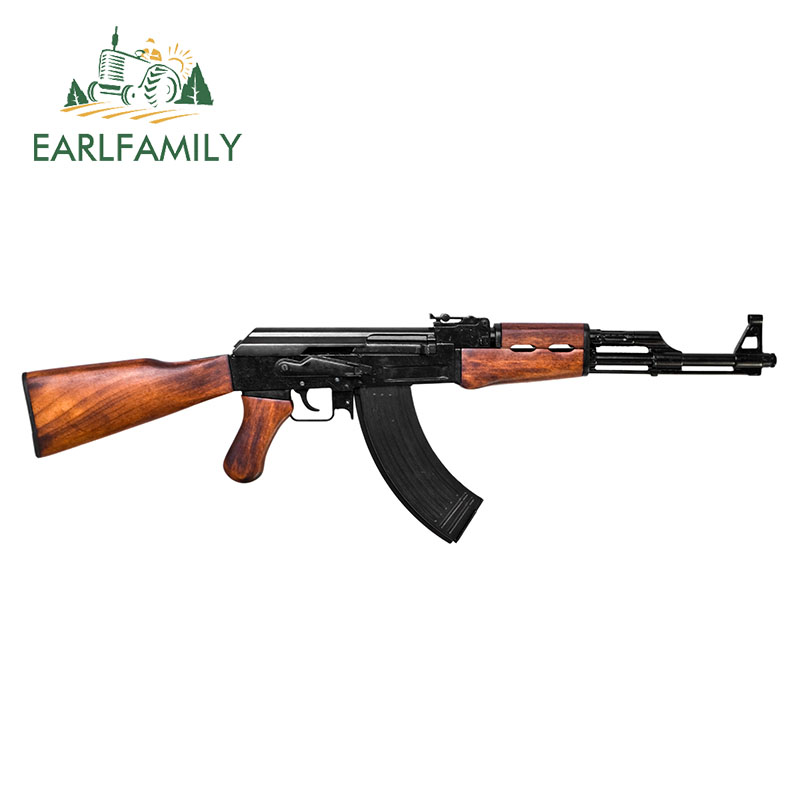EARLFAMILY 15cm X 4.6cm Gun Shaped Magnet AK-47 Rifle Vinyl Decal Magnetic Window Bumper Sticker Personality 3D Car Stickers