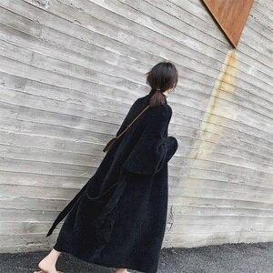 Image 3 - EWQ ocio linterna manga bufanda Collar abierto Stitch negro mujeres largo holgado de talla grande abrigos de lana 2020 otoño invierno nuevo TD385
