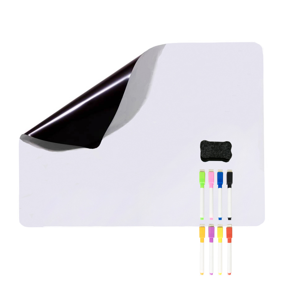 Magnetic Dry Erase Whiteboard. Includes 8 Magnetic Dry Erase Markers, Assorted Colors. Great For Fridge