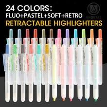 Andstal caneta retrátil iluminadora 24 cores, recarregável pastel fluo macio retrô 6/12 peças cor fluorescente para o conjunto de marcador da escola