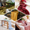 Event Decor Gauze Table Runners Birthday Gifts Table Decor Tablecloth Rustic Party Reusable Soft Cotton Runners 62 x1000cm