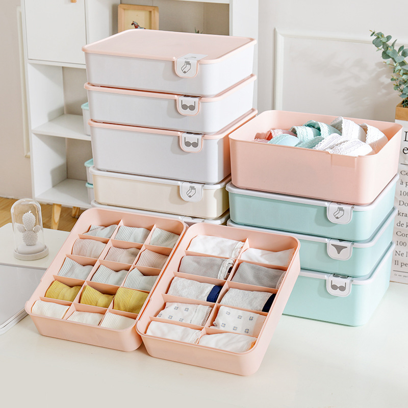 1/10/15 Grid Plastic Underwear Storage Box With Mark Closet Organizer Drawer For Underwear Socks Box Bra Organizer With Cover