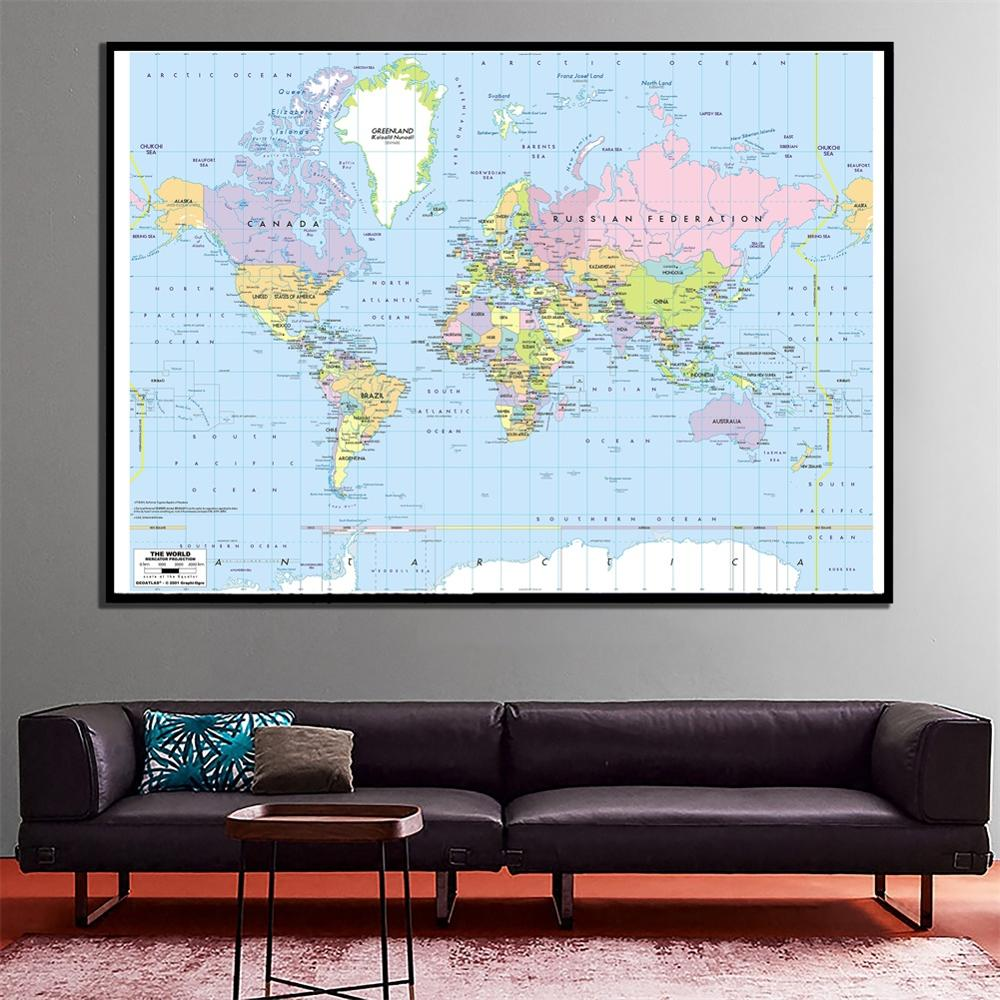 24x36cm The World Mercator Projection Map HD Fine Canvas Spray Painting For Bedroom Wall Painting