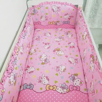 6pcs Girls Crib Set Washable Customize Size baby bed protector baby bedding (4bumper+sheet+pillowcase)
