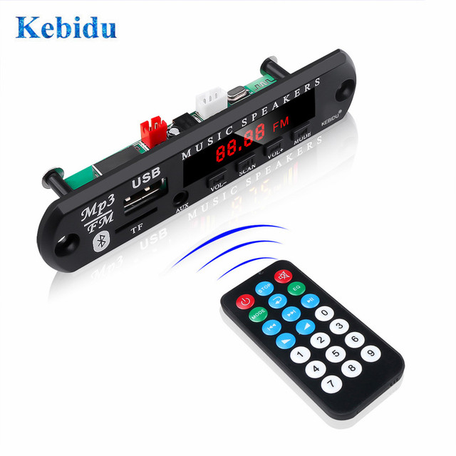 KEBIDU Bluetooth5.0 MP3 WMA ถอดรหัสบอร์ด 5V 12V โมดูลเสียง USB TF วิทยุเพลงรถยนต์ MP3 ผู้เล่นด้วยรีโมทคอนโทรล