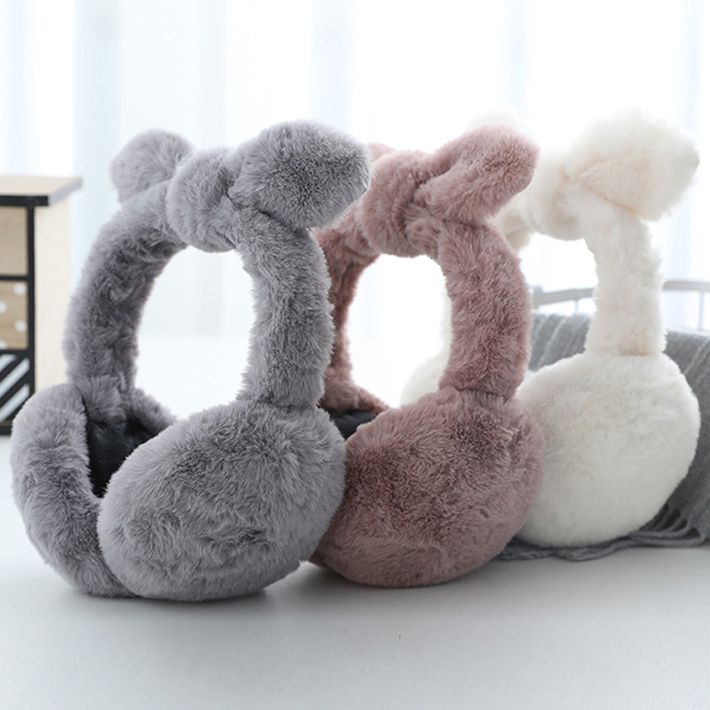 Winter Warm Bow Earmuffs Plush Fuzzy Faux Fur Earmuffs Folding Bow Ear Cover Thickening Illuminated Students Earmuffs