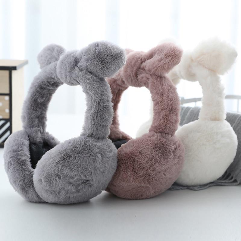 Winter Warm Bow Earmuffs Plush Fuzzy Faux Fur Earmuffs Folding Bow Ear Cover Thickening Illuminated Students Earmuffs