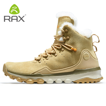 RAX Women Genuine Leather Hiking Shoes Outdoor Waterproof Warm Sneakers Breathable Outdoor Sports Shoes Men Walking Sneakers rax hiking shoes men waterproof trekking shoes lightweight breathable outdoor sports sneakers for men climbing leather shoes