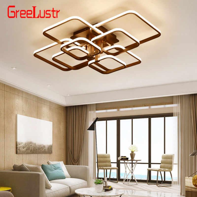 Lustre de teto moderno acílico, escurecimento, lâmpada quadrada, led, plafon, com controle remoto, para decoração de casa