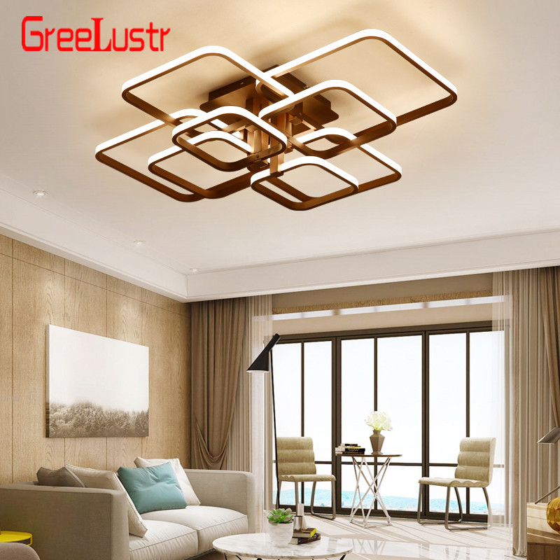 Modern Acylic Led Dimming Ceiling Chandelier Lamp Square LED Plafon  Light Fixtures lustre plafonnier with Remote for Home Decor