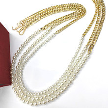 NEW Pearl strap for bags handbag accessories belt brand Handles cute bead chain tote women parts gold clasp Bead chain