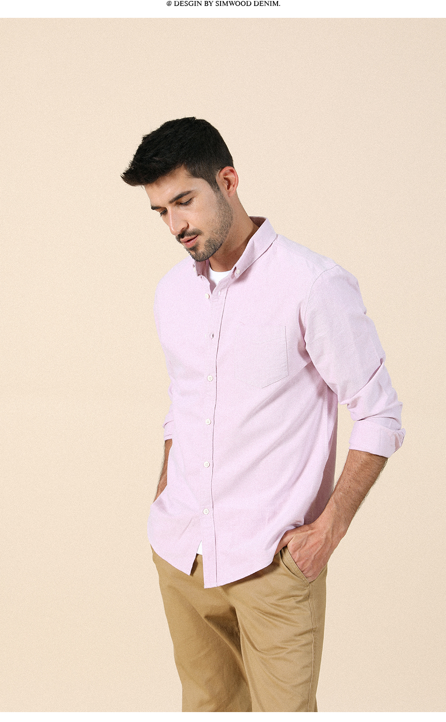 H1a3a2939186d449787f9a5e02aa474bf6 - SIMWOOD 21s/2 oxford shirts men classical casual shirt single chest pockets 100% cotton spring new brand clothing SJ110377