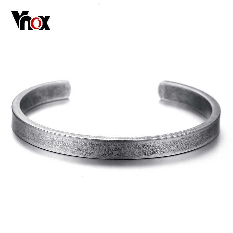 Vnox خمر فايكنغ الكفة الأساور أساور للرجال النساء بسيطة الكلاسيكية Pulseras hombre الفولاذ المقاوم للصدأ الذكور المجوهرات