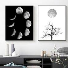 Скандинавская Настенная картина Луна фаза Холст Плакаты и принты