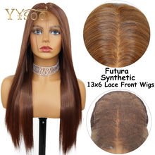 YYsoo Long 13X6 Futura Glueless Lace Front Synthetic Wigs With BabyHair Glueless Silky Straight Blonde Wig Mixed #4Highlights#30(China)