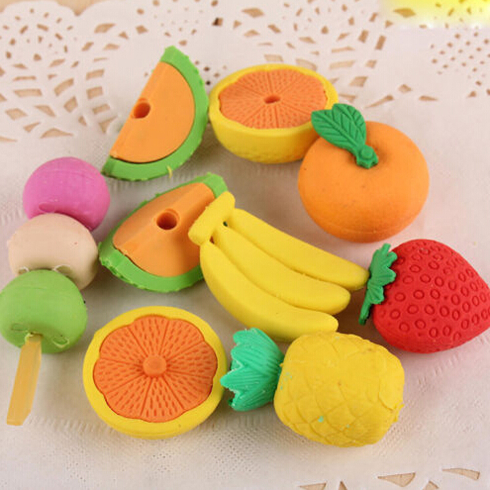 4 Pcs/lot Novelty Fruit&vegetable Mini Eraser Creative Kawaii Stationery School Supplies Papelaria Gift For Kids