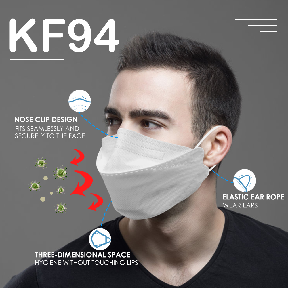 KF94 Face Masks 4 Layer Non-woven Breathable Anti Dust Mouth Nose Covers