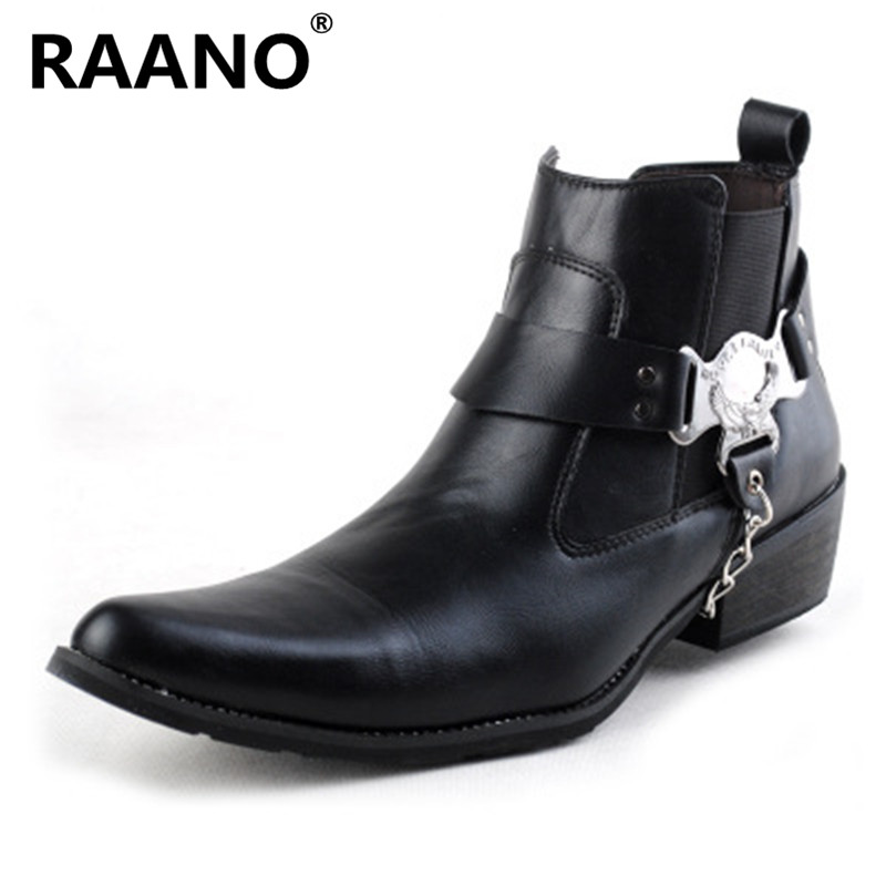 High Quality Chain Pointed Toe Leather Boots Men Uniform Basic Motorcycle Boots Men Ankle Punk Rock Black Shoes Botas Hombre