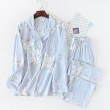 Ensemble pyjama pour femmes, imprimé de fleurs, vêtements de nuit en coton, confortable à manches longues, décontracté