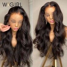 Wigirl onda do corpo 13x4 frente do laço perucas de cabelo humano pré arrancadas com o cabelo do bebê brasileiro 150% perucas frontais do laço para preto